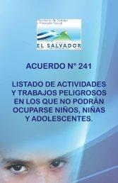 Acuerdo Ejecutivo No 241 MINITRAB sobre listado de actividades y ...