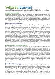 velfærdsteknologi til fremtidens ældreboliger og nye ... - ODSIF