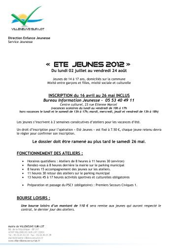 Bureau Information Jeunesse - Villeneuve sur Lot