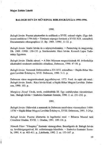 Balogh István műveinek bibliográfiája, 1990–1996 - Magyar ...