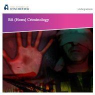 BA (Hons) Criminology - University of Winchester