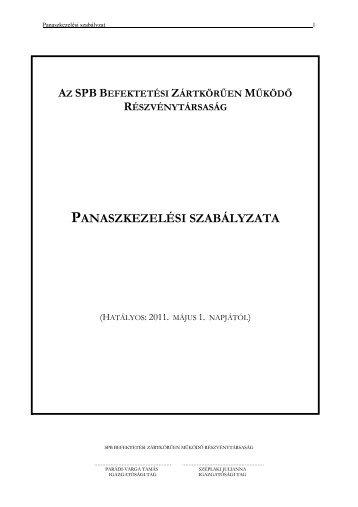 Panaszkezelési Szabályzat - SPB Befektetési Zrt.