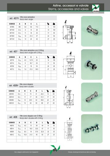 Astine, accessori e valvole Stems, accessories and valves - Pneumax