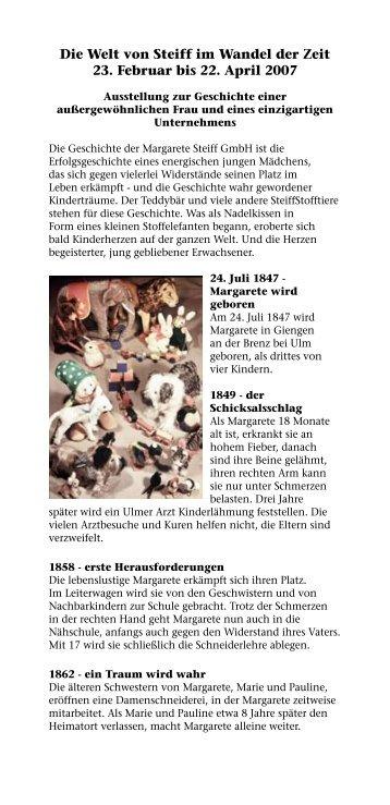Die Welt von Steiff im Wandel der Zeit 23. Februar bis 22. April 2007