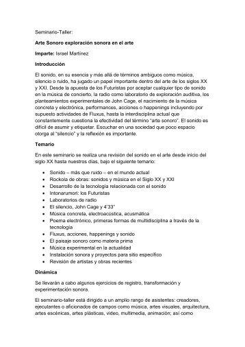 Seminario-Taller: Arte Sonoro exploración sonora en ... - Cultura UDG