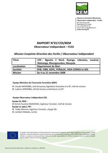 RAPPORT N°017/OIF/REM - Observation Indépendante