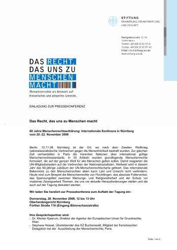 Einladung zur Pressekonferenz - internationale Konferenz