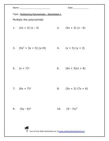 Math 070 Exponents and Polynomials Worksheet Simplify: 1. 21x y ...