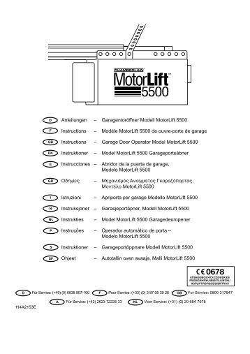 Garagentoröffner Modell MotorLift 5500 Instructions - Chamberlain