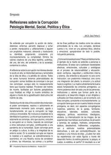 Reflexiones sobre la Corrupción Patología Mental, Social, Política y ...