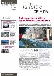 La Lettre de la DIV - Délégation interministérielle à la ville