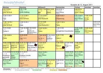 Kursplan ab 12. August 2011 Montag Dienstag Mittwoch ...