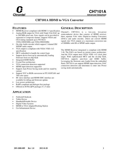 CH7101A Advanced Datasheet - Chrontel