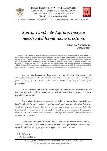 Santo. Tomás de Aquino, insigne maestro del ... - E-Aquinas