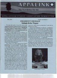 No.1, Fall 2004 - Appalachian Studies Association