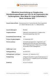 Ausschreibung Organisation Fachkongress