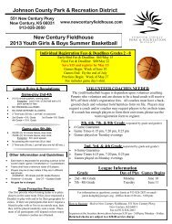 New Century Fieldhouse 2013 Youth Girls & Boys Summer Basketball