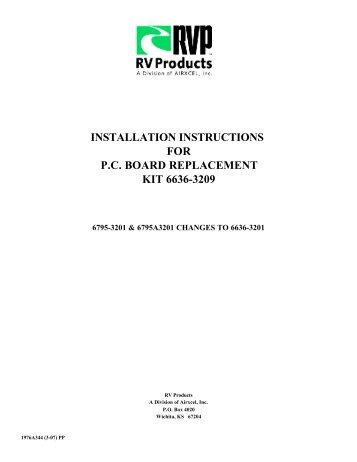 installation instructions for pc board replacement kit 6636-3209