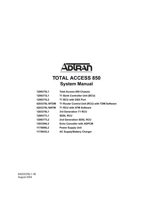 Total Access 850 System Manual - Adtran on