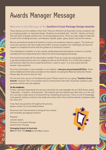 Awards Manager Message - the Packaging Council of Australia