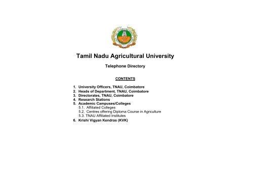 Tamil nadu agricultural university telephone directory.