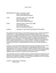 NRC Memo Closure of Fire Protection Exemption Database 4-22-10 ...