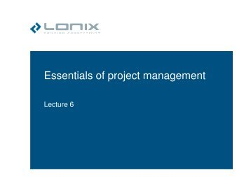 Essentials of project management - LONIX