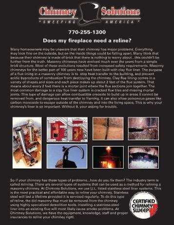 Does my fireplace need a reline? 770-255-1300 - Kudzu