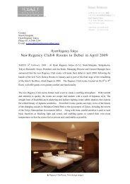 New Regency Club® Rooms to Debut in April 2009