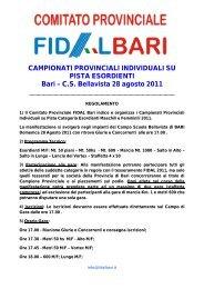 CAMPIONATI PROVINCIALI INDIVIDUALI SU PISTA ... - FIDAL Bari