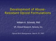 Development of Abuse- Resistant Opioid Formulations