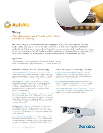 AutoVu Sharp Specifications - Genetec