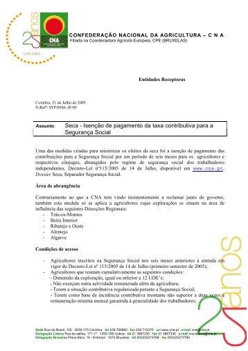 Isenção de pagamento da taxa contributiva para a Segurança ... - CNA