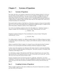Chapter 5 Systems of Equations - Hanlon Math