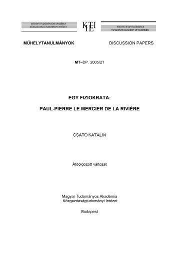 egy fiziokrata: paul-pierre le mercier de la rivière - Magyar ...