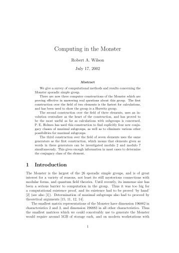 Computing in the Monster - University of Birmingham