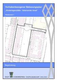 Vorhabenbezogener Bebauungsplan - Stadt Kornwestheim