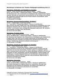 Workshops im Rahmen der Theater-Pädagogik-Ausbildung 2012/1 ...