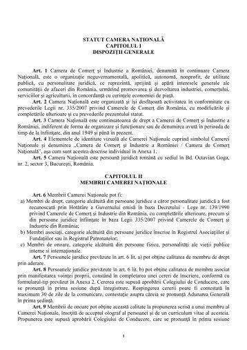 Statutul Camerei Naţionale - Camera de Comert si Industrie a ...
