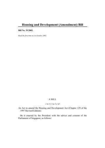 Housing and Development (Amendment) Bill - Parliament Of ...