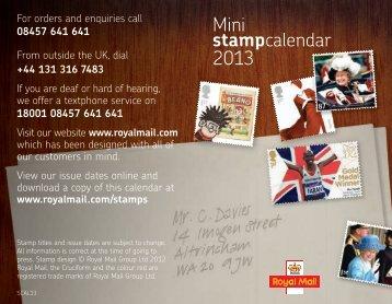 2013 stamp calendar - Royal Mail