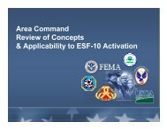 Area Command Review of Concepts & Applicability to ESF-10 ...