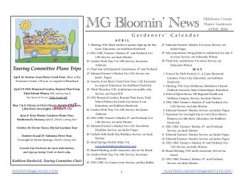 MG Bloomin' News - Oklahoma County Master Gardeners