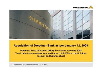 Acquisition of Dresdner Bank as per January 12, 2009