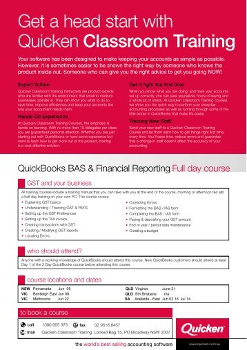 Get a head start with Quicken Classroom Training - Reckon