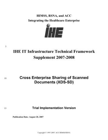 XDS-SD Supplement - IHE