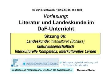 Vorlesung: Literatur und Landeskunde im DaF-Unterricht - Moodle 2