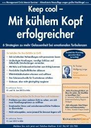 Seminar: Keep cool – mit kühlem Kopf erfolgreicher - Management ...