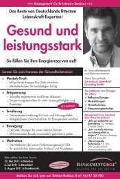 Seminar: Gesund und leistungsstark - Management Circle AG