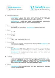 Technisches Datenblatt - NanoSys GmbH